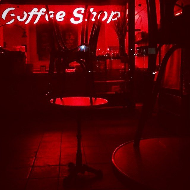 The walk home. #brooklyn #newyork #usa #closed #coffeeshop #red
