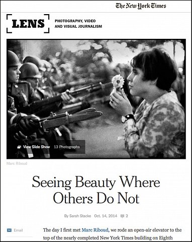 """Seeing Beauty Where Others Do Not""  <br>Writing Published October 14, 2014. <br>  <a href=""http://lens.blogs.nytimes.com/2014/10/14/seeing-beauty-where-others-do-not/"">View Article</a>"
