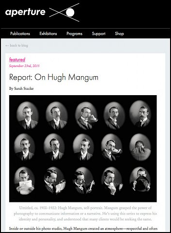 """Report: On Hugh Mangum"" <br>Writing Published September 23, 2015. <br>  <a href=""http://aperture.org/blog/report-hugh-mangum/"">View Article</a>"