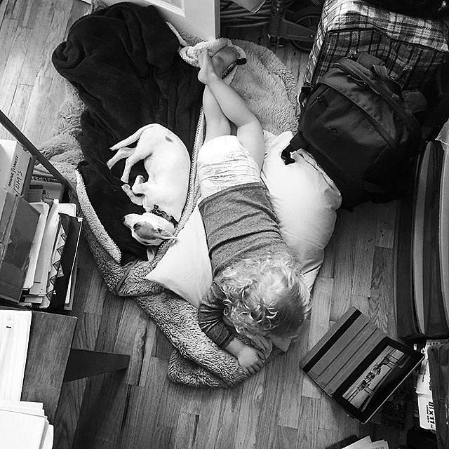 Sick day in mom's office. #family #thisislife #sickday #errol #brooklyn #newyork #usa #homefromdaycare #doubleduty