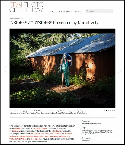 """INSIDERS/OUTSIDERS Presented by Narratively""  <br> Writing published September 10, 2015.<br>  <a href=""http://potd.pdnonline.com/2015/09/33831/"">View Article</a>"