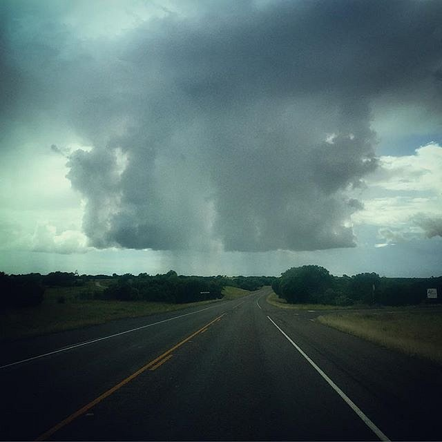 Rain cloud 12 o'clock. #itsrainingintexas #texas #rain #road #floods #lookingforcowboys #usa #valleymills #bosquecounty