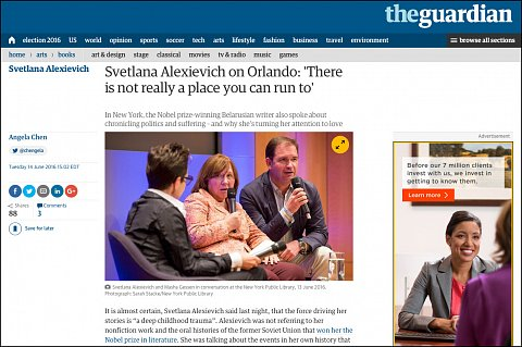 """Svetlana Alexievich on Orlando: There is not really a place you can run to"" <br>Photographs published June 14, 2016. <br>  <a href=""https://www.theguardian.com/books/2016/jun/14/svetlana-alexievich-new-york-library-event-orlando-comments"">View Article</a>"