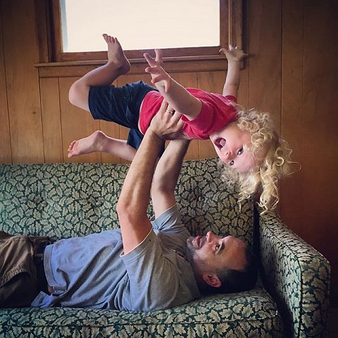 Annual Bryan & Errol couch pic at the cabin. #2016 #summer #midwest #minnesota #family #cabintime #peace #errol #three