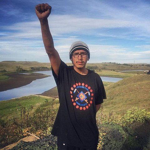 Lakota Bigcrow, 23, walked over 300 miles from Rosebud, SD to join the fight against the Dakota Access Pipeline. Bigcrow, a descendant of Crazy Horse, is a member of the Rosebud Tribe and is planning to stay in Cannon Ball, ND as long as it takes to stop the construction for good. #sacredstonecamp #cleanwaterforall #usa #northdakota #cannonball #NoDapl