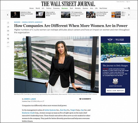 """How Companies  Are Different when More Women Are in Power"" <br>Photographs published September 27, 2016.<br>  <a href=""http://www.wsj.com/articles/how-companies-are-different-when-more-women-are-in-power-1474963802"">View Article</a>"