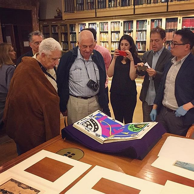 "@nypl Special Collections tour last night with Gilles Peress & Lee Friedlander. They're looking at the original ""Jazz"" book by Matisse. #onassignment #newyork #nypl #legends"