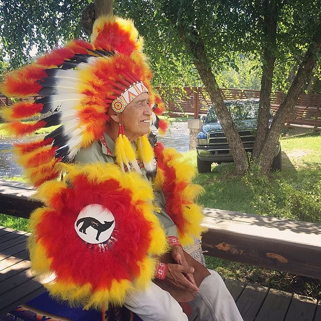 """Today I met Ernest Lambert, an EBCI Tribal member who has been posing for pictures with tourists in Cherokee since 1968. Locally known as """"chiefing,"""" his activities (and those of his peers) have historically been the front lines of education for visitors."""