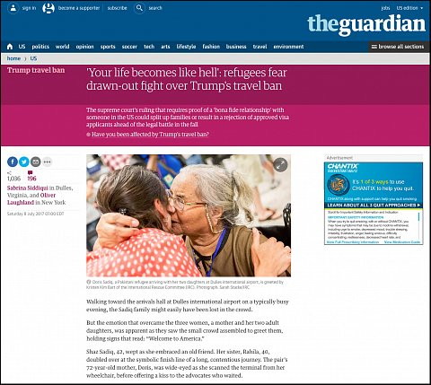 """""""Your life becomes like hell: refugees fear drawn-out fight over Trump's travel ban"""" <br>Photographs published July 8, 2017. <br>  <a href=""""https://www.theguardian.com/us-news/2017/jul/08/refugees-trump-travel-ban-bona-fide-relationship"""">View Article</a>"""