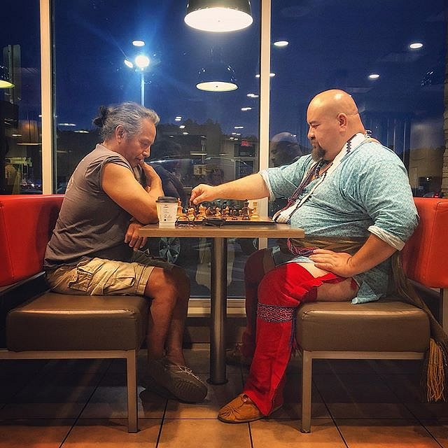 Bullet and John John. 06.21.19 #chess #cherokee #pastpresent #forcedgeographies #borders #northcarolina #mcdonalds #greatsmokies #twentyfirstcenturycherokee