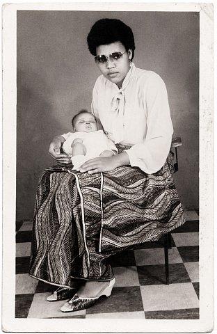 Nelly Lema. Photograph by Lema Mpeve Mervil of Studio Photo Less. Kinshasa, D.R.C., c. 1981.