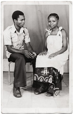 Nelly's older brother and friend. Photograph by Lema Mpeve Mervil of Studio Photo Less. Kinshasa, D.R.C., c. 1970.
