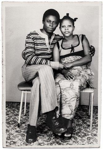 Lema and friend. Photograph by Lema Mpeve Mervil of Studio Photo Less. Kinshasa, D.R.C., c. 1975.