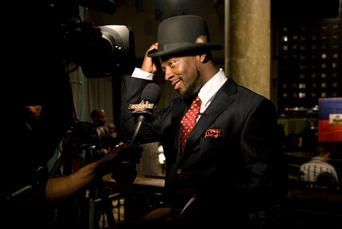 """Wyclef Jean is interviewed at a press-only event at SOBs night club in New York, New York. Jean introduced his latest album, """"Carnival Vol 2 - Memoirs of an Immigrant,"""" and was presented a genuine dimplomtic passport by Haitian ambassador Raymond Joseph. October 20, 2007."""