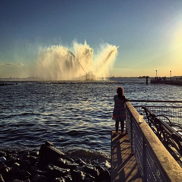 Last night in Red Hook. #fireboat #brooklyn #redhook #usa #summer #friday #pier