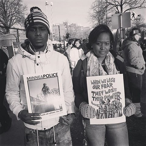 "Twenty-two-year-old Donyae Webber and Cibia Jones, 23, are from North Minneapolis. Webber came to the march because of the shooting that targeted protesters last night. Jones says, ""Something really needs to change: the police killing us, the injustice..."" #blacklivesmatter #releasethetapes #minneapolis #minnesota #protest #jamarclark @trapplife"