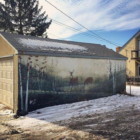 #midwest #minnesota #usa #winter #garage #mural #deer
