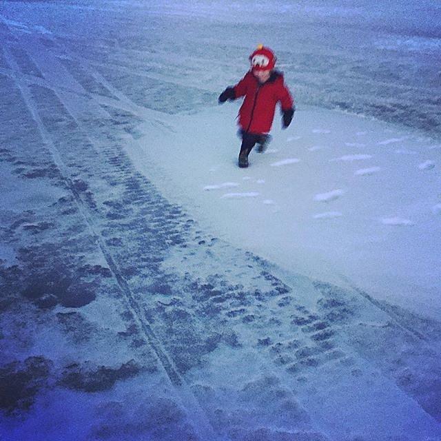Evening adventure on the lake with Errol. #family #lakeminnetonka #minnesota #midwest #frozenlake #winter #redjacket
