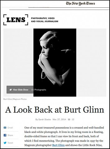 """""""A Look Back at Burt Glinn""""  <br>Writing published March 27, 2014. <br>  <a href=""""http://lens.blogs.nytimes.com/2014/03/27/a-look-back-at-burt-glinn/?_php=true&_type=blogs&_r=0"""">View Article</a>"""