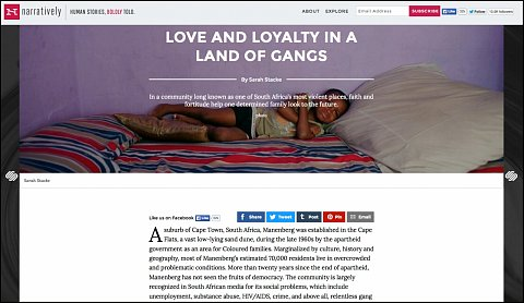"""""""Love and Loyalty in a Land of Gangs"""" <br>Photographs and writing published September 4, 2015.  <br>  <a href=""""http://narrative.ly/stories/love-and-loyalty-in-a-land-of-gangs/"""">View Article</a>"""