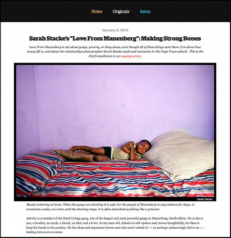 """""""Making Strong Bones"""" <br> Photographs and writing published January 6, 2015. <br>  <a href=""""http://www.readingthepictures.org/2015/01/sarah-stacke-manenberg-ashwin/"""">View Article</a>"""