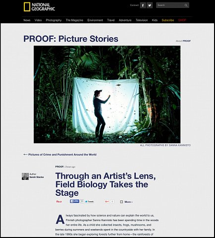"""""""Through an Artist's Lens, Field Biology Takes the Stage"""" <br>Writing published March 21, 2016.<br>  <a href=""""http://proof.nationalgeographic.com/2016/03/21/through-an-artists-lens-field-biology-takes-the-stage/"""">View Article</a>"""