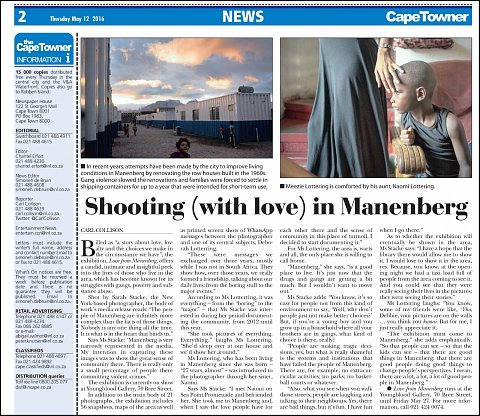 """""""Shooting (with love) in Manenberg"""" <br>Photographs published May 12, 2016. <br>  <a href=""""http://www.capetowner.co.za/news/shooting-with-love-in-manenberg-5169495"""">View Article</a>"""