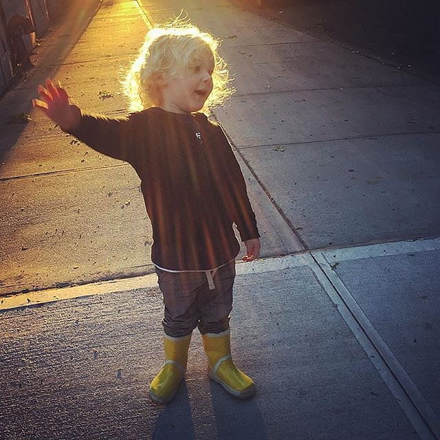 Errol and the Light. #family #errol #brooklyn #evening #walk #light #sidewalk