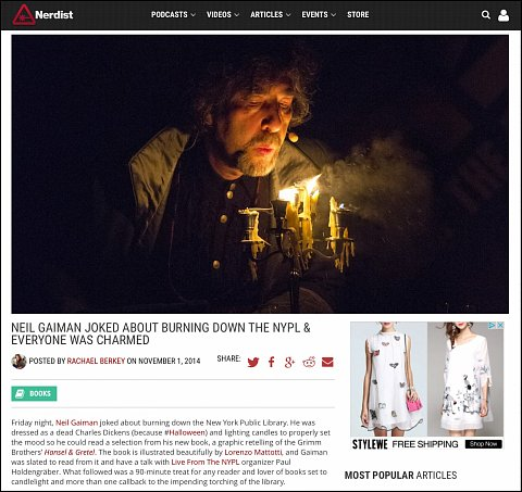 """""""Neil Gaiman Joked about Burning Down the NYPL and Everyone was Charmed"""" <br> Photographs published November 1, 2014.<br>  <a href=""""http://nerdist.com/neil-gaiman-joked-about-burning-down-the-nypl-everyone-was-charmed/"""">View Article</a>"""
