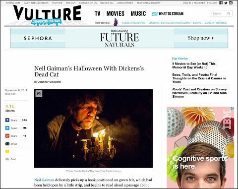"""""""Neil Gaiman's Halloween with Dickens's Deat Cat"""" <br> Photographs published November 6, 2014.<br>  <a href=""""http://www.vulture.com/2014/11/neil-gaimans-halloween-with-dickenss-dead-cat.html#"""">View Article</a>"""