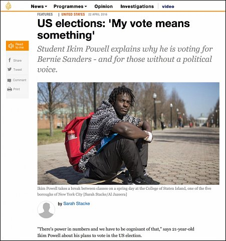 """""""US Elections: My vote means something"""" <br>Photographs and writing published April 22, 2016. <br>  <a href=""""http://www.aljazeera.com/indepth/features/2016/04/elections-vote-means-160421141729188.html"""">View Article</a>"""