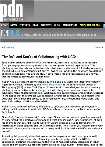 """""""The Do's and Don'ts of Collaborating with NGOs""""  <br>Writing published November 16, 2015. <br>  <a href=""""http://pdnpulse.pdnonline.com/2015/11/the-dos-and-donts-of-collaborating-with-ngos.html"""">View Article</a>"""