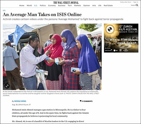 """""""An Average Man Takes on ISIS Online"""" <br>Photographs and video published August 28, 2016.<br>  <a href=""""http://www.wsj.com/articles/an-average-man-takes-on-isis-online-1472415307?mod=wsj_nview_latest"""">View Article</a>"""