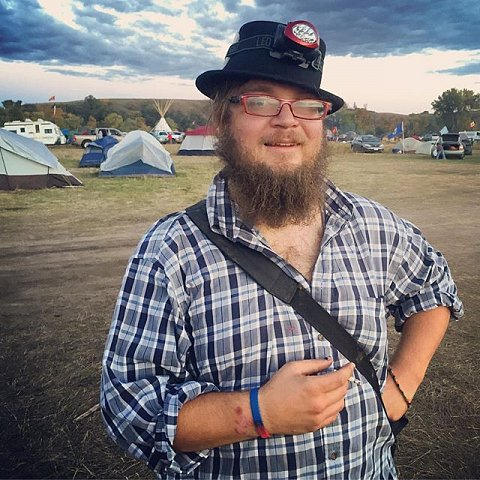 "Thirty-six-year-old David Guthrie plans to spend the winter camping alongside protesters of the Dakota Access Pipeline. Referred to as ""DAPL"", the pipeline is under construction on the edges of the Standing Rock Sioux Reservation near Cannon Ball, ND. Guthrie, who has been on the road since June, also attended the RNC and DNC conventions earlier this year. (Guthrie wants to say ""hi"" to @hlswift !) #NoDAPL #northdakota #standingrocksioux"