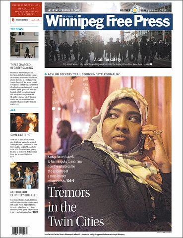 """""""Tremors in the Twin Cities"""" <br>Photographs published February 18, 2017. <br>  <a href=""""http://www.winnipegfreepress.com/local/desperation-trumps-danger-414099163.html"""">View Article</a>"""