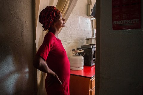 Naomi Lottering visits her father's house shortly before being hospitalized for complications from TB and HIV. <br>Manenberg, April 2017.