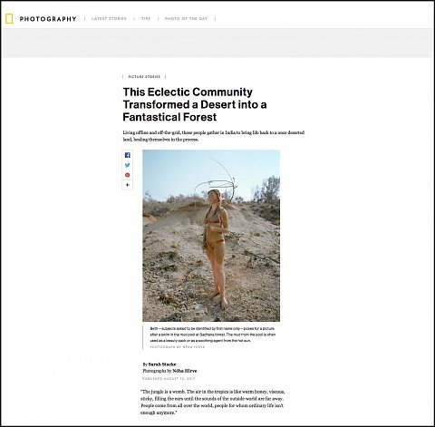"""""""This Eclectic Community Transformed a Desert into a Fantastical Forest"""" <br>Writing published August 15, 2017.<br>  <a href=""""http://www.nationalgeographic.com/photography/proof/2017/08/reforestation-india-sustainable-sadhana-community-desert/"""">View Article</a>"""