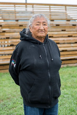 Susan Johnson, 88, has lived on the Red Lake Indian Reservation in northern Minnesota all her life. She is known for her outdoor bread, which is made of bannock, and she teaches Ojibwe language at the Red Lake schools. <br>September 2017.