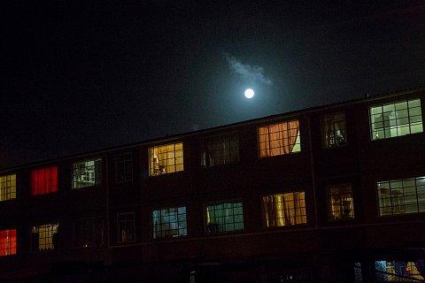A full moon rises over Manenberg. <br>Manenberg, December 2018.