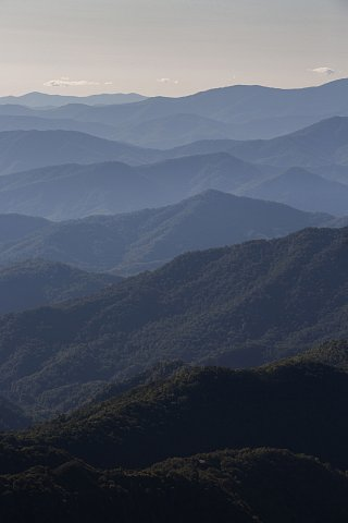 A section of the Great Smoky Mountains near the Qualla Boundary, home of the EBCI, in western North Carolina. The tribe can trace their history in this region back more than 10,000 years. <br>September 2020.