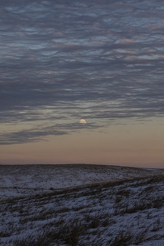 The moon rises over the Cheyenne River Reservation. October 28, 2020.