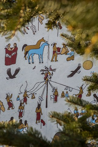 A mural by M. Running Wolf depicts the Sun Dance, often considered the most important ceremony practiced by the Lakota. The US government outlawed the Sun Dance in 1904, and it wasn't until 1978 that the American Indian Religious Freedom Act was passed, protecting the rights of Native Americans to exercise their traditional religions. March 7, 2021.