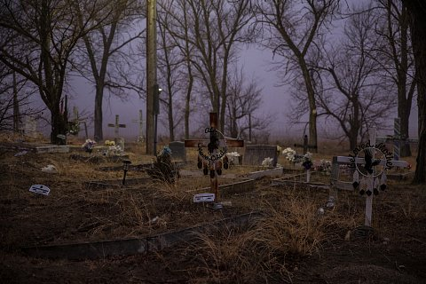 Upon the arrival of Europeans in the Americas, Native Americans suffered unimaginable levels of death from flu, smallpox, and measles. Pictured here is the cemetery at St. Joseph Catholic Church in Cherry Creek, Cheyenne River Reservation, established by missionaries in 1894.  March 6, 2021.